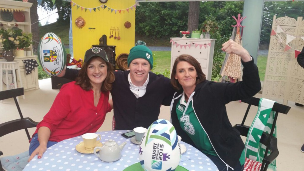 Presenter Anna Nolan, and judges Paul Kelly & Lilly Higgins take part in a Rugby World Cup inspired promo for The Great Irish Bake Off.