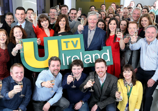 01/01/2015 REPRO FREE PIC SHOWS:  Pictured at the launch of UTV Ireland at the channel's headquarters and HD studios in Dublin's Docklands, on New Year's Day, were staff and presenters of the channel. The launch also marked Pat Kenny's much-anticipated return to television with a one-hour special, 'Out With The Old – In With The U', where Pat travelled the length and breadth of the country, meeting a variety of high-profile personalities, engaging with expert contributors and 'ordinary' people with compelling stories to tell. Amongst the well-known faces was international musician Hozier, with an exclusive performance, back stage footage and a retrospective with Pat on what has been a whirlwind year, for the Wicklow native. Entrepreneur and investor Sean O'Sullivan also discussed his confidence in Ireland and his enthusiasm for its future, and Ireland rugby super-star, Tommy Bowe, spoke to Pat about the important rugby year ahead. PIC: MAXWELL'S   NO FEE