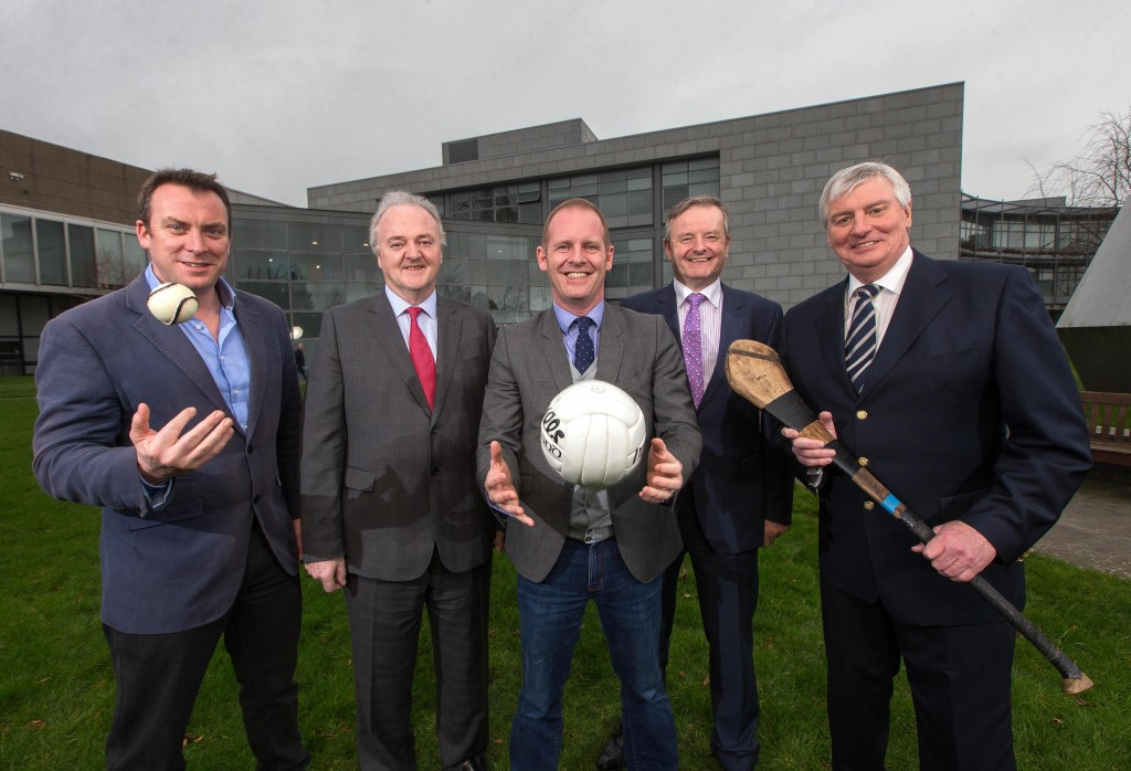 ****PRESS RELEASE NO REPRODUCTION FEE*** Allianz Ireland Announced as Sponsor of RTÉ2's Allianz League Sunday 4/2/2016 Pictured at the announcement in RTÉ of Allianz Ireland as title sponsors of Allianz League Sunday on RTÉ2 are (L-R) Dermot Rigley, Commercial Manager, RTÉ Media Sales; Brendan Murphy, CEO Allianz Ireland; Ryle Nugent, Group Head of Sport, RTÉ; Damian O'Neill, Head of Marketing & Communication, Allianz Ireland and Michael Lyster, presenter Allianz League Sunday Mandatory Credit ©INPHO/Ryan Byrne