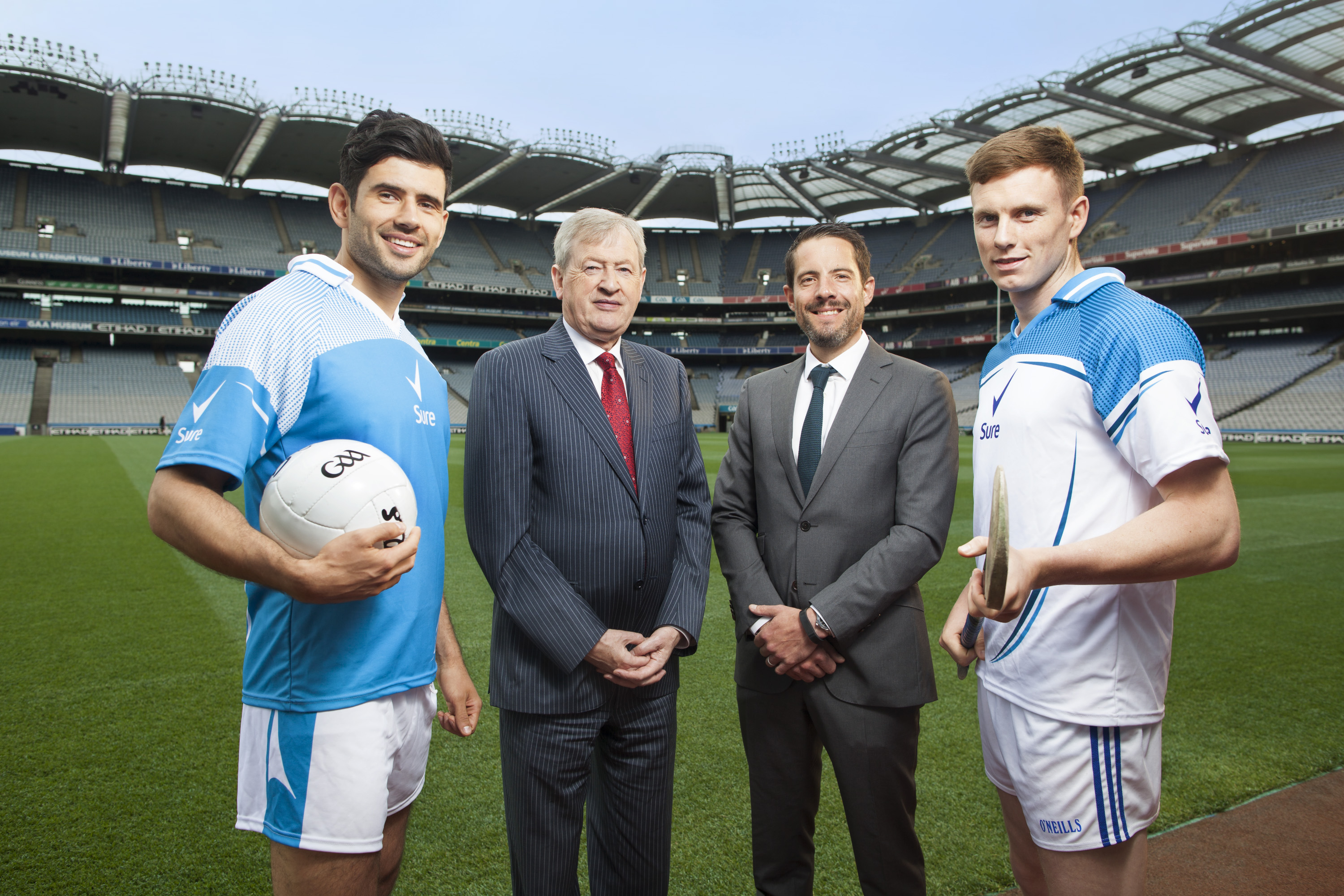 Dublin's Cian O'Sullivan, Waterford's Austin Gleeson, Unilever Ireland MD Nick Johnson and GAA Ard-Stiurthóir Páraic Duffy were in Croke Park today to unveil Sure as the GAA's first ever Official Statistics Partner. The partnership will unlock the stories behind GAA statistics, inspiring people to get up and get moving. #MakeYourMove