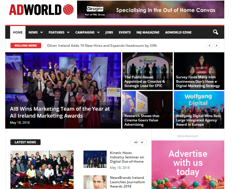 Adworld ie: Marketing Ireland, Advertising & PR Portal for