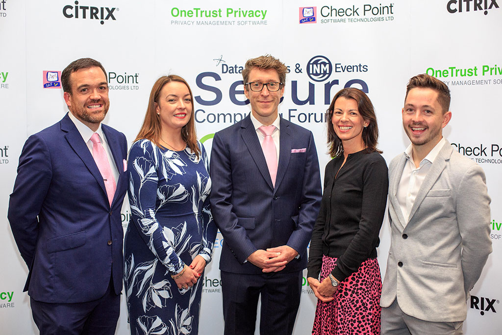 Hugh McGauran, Country Manager Ireland, Check Point Software; Cliona Carroll, Sponsorship and Events Manager, INM; Eddie Doyle, Global Security Strategist, Check Point Research; Roberta McCrossan, Group Marketing Director, DataSolutions; and Conor McCaffrey, Privacy Consultant, OneTrust.