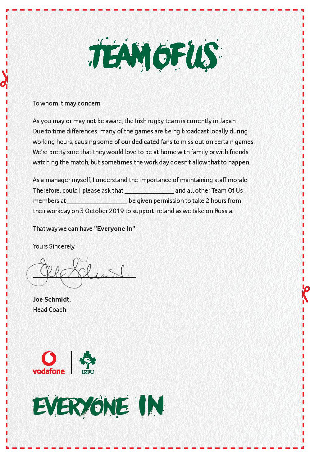 JWT Folk creates innovative print advert granting the nation permission to take time off to watch Ireland v Russia